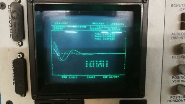 Stossspannungsprüfung von einem explosionsgeschützten Antrieb. Die Kurven liegen bei einer intakten Wicklung übereinander...